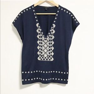 JCrew. Navy blue with white embroidered